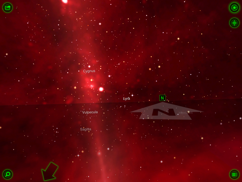 Here you can navigate around the night sky using the content. Notice the traditional menu hidden away in the right hand bottom corner.