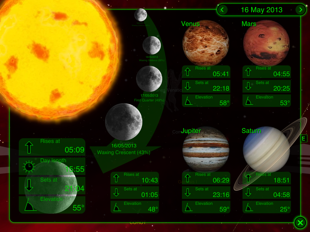 And here is a mixture of menu and controls. You can step through days using the arrows on the date or by interacting with the moon.