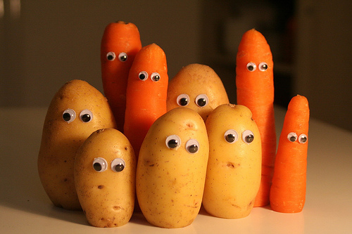 It's getting quite wordy - here's a picture of carrots and potatoes with faces.