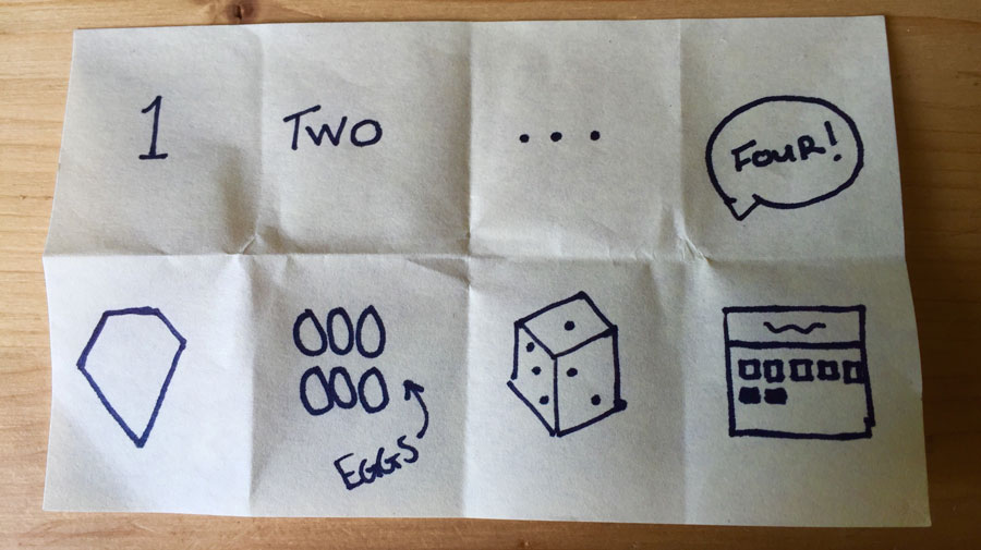 "Crazy 8s - Grab a large sheet of paper and fold into 8 boxes. Choose a ""how might we"" to tackle. You have 1 minute per box to draw an idea. • Don't self edit! It's ok if your idea is crazy. • Share your ideas back with the rest of your team"