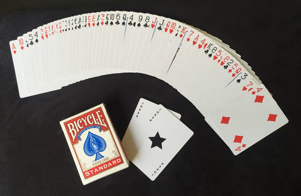 A deck of cards - 52 cards, jokers and box