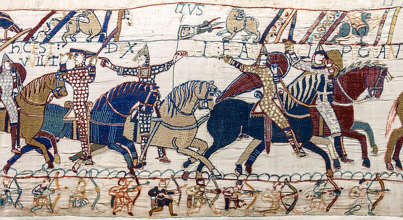 Bayeux Tapestry - Scenes 55 & 56 - Duke William lifts his helmet to be recognized on the battlefield of Hastings. Eustace II, Count of Boulogne points to him with his finger. In the bottom margin, a row of archers